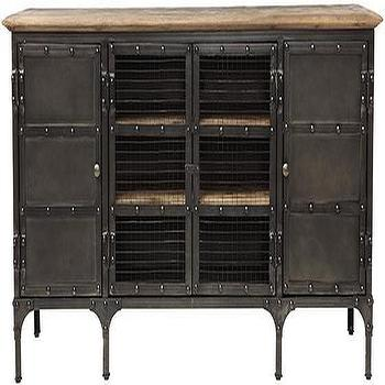 Storage Furniture - Ambrose TV Stand | HomeDecorators.com - industrial style tv stand, industrial media console, iron tv stand, riveted iron tv stand with wire cabinet fronts,