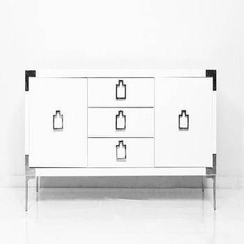 Storage Furniture - Continental Credenza I Room Service Store - modern white credenza with chrome trim, white credenza with square shaped chrome hardware, modern white buffet with chrome trim and hardware,