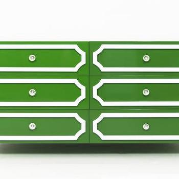 Storage Furniture - Hollywood 6 Drawer Dresser in Kelly Green I Room Service Store - glossy green dresser with white trim, green dresser with white geometric drawer fronts, modern green and white dresser,