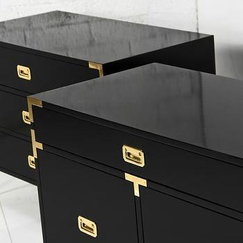 Storage Furniture - Jet Setter Side Tables I Room Service Store - glossy black campaign style side table, black campaign side table with brass hardware, black lacquer side table with campaign hardware,