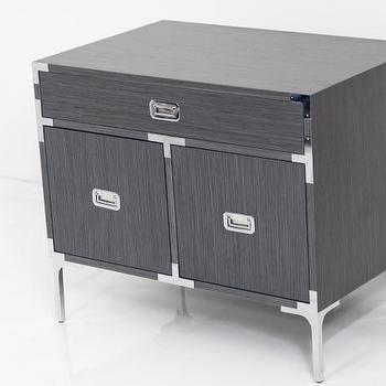 Storage Furniture - Jet Setter Side Table in Grey Rift Oak I Room Service Store - gray rift oak side table, gray rift oak side table with chrome campaign hardware, gray campaign style side table with chrome hardware,