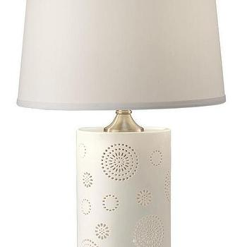 Lighting - Modello Table Lamp | HomeDecorators.com - modern white table lamp, white cut out table lamp, white table lamp with geometric cutout design,