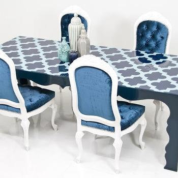 Tables - Baroque Marrakesh Dining Table I Room Service Store - navy blue scalloped dining table, navy and aqua blue dining table, blue moroccan trellis dining table,