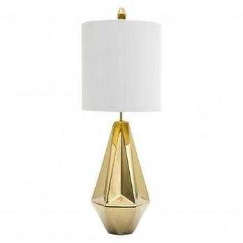 Tables - Haley Lamp | Jayson Home - shiny gold table lamp, modern gold table lamp, geometric gold table lamp, gold metallic table lamp, geometric gold metallic glazed table lamp,