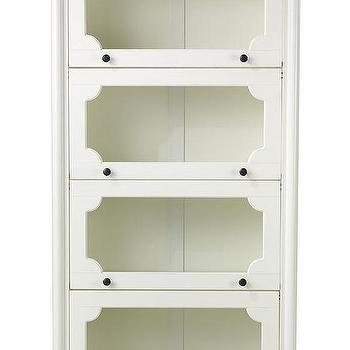 Storage Furniture - Essex 4-Shelf Barrister Bookcase | HomeDecorators.com - white glass front bookcase, white barrister style bookcase, white bookcase with glass fronted doors,