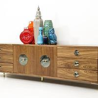 Seating - Boca Credenza in Walnut I Room Service Store - walnut credenza with brass legs, walnut credenza with lucite mirrored knobs, walnut credenza with circular mirrored lucite hardware,