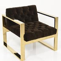 Seating - Brass Kube Chair in Chocolate Velvet I Room Service Store - chocolate brown velvet chair with brass frame, brass u leg framed chair, brown velvet tufted chair with brass frame,