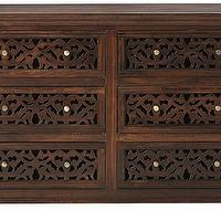 Storage Furniture - Maharaja Dresser | HomeDecorators.com - indian style dresser, hand carved wooden dresser, wooden dresser with fretwork drawer fronts,