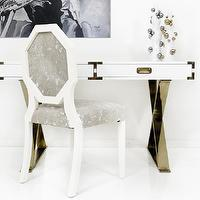 Tables - Jet Setter Desk I Room Service Store - glossy white desk with brass hardware, white lacquered desk with brass campaign hardware, white lacquered desk with brass campaign hardware and brass x legs, white lacquered desk with brass x legs,
