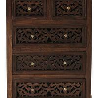 Storage Furniture - Maharaja Chest | HomeDecorators.com - indian style chest, wooden chest with fretwork drawers, indian style fretwork chest,