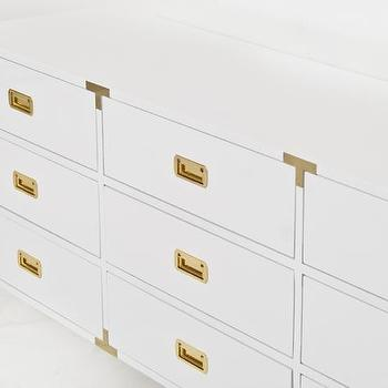 Storage Furniture - Jet Setter Grande Dresser I Room Service Store - glossy white campaign style dresser, white lacquered dresser with brass hardware, white lacquered dresser with brass campaign hardware,