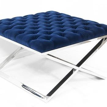 Seating - Tufted X-Base Ottoman I Room Service Store - blue tufted velvet ottoman, royal blue tufted ottoman, blue tufted ottoman with chrome base, blue tufted ottoman with chrome x base,