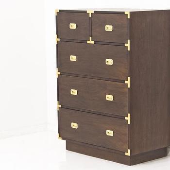 Storage Furniture - Jet Setter Tall Boy Dresser in Walnut I Room Service Store - walnut campaign chest, walnut campaign tall boy, campaign style dresser, walnut tall boy dresser with brass campaign hardware,