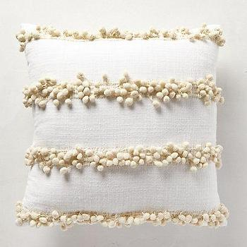 Pillows - Tassel Trace Pillow I anthropologie.com - white pillow with tassel trim, white pillow with cream tasseled stripes, white pillow with cream tasseled stripes,