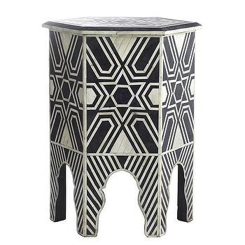 Tables - Bone Hexa Table | Wisteria - geometric inlaid side table, geometric bone inlaid side table, moroccan shaped bone inlaid side table, bone inlaid accent table,
