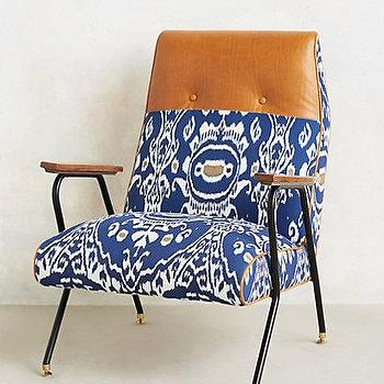 Seating - Midnight Ikat Chair I anthropologie.com - vintage style blue ikat chair, mid century style blue ikat chair, mid century modern blue ikat chair,