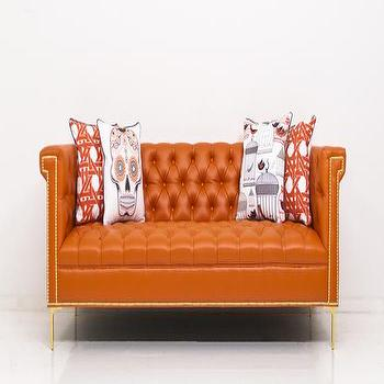 Seating - Sinatra Sofa in Hermes Orange Faux Leather I Room Service Store - hermes orange leather sofa, tufted orange leather sofa, tufted orange leather sofa with nailhead trim and brass legs,
