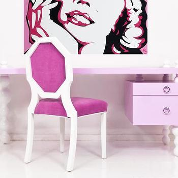 Tables - Ibiza Desk in Light Pink I Room Service Store - white bubbled legged pink desk, modern white and pink lacquered desk, pink lacquered desk with white bubble legs,