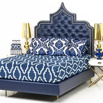 Beds/Headboards - The Casbah Bed in Navy Faux Leather I Room Service Store - navy leather bed with tufted headboard, moroccan style navy bed, moroccan style navy leather bed, moorish navy leather tufted headboard,