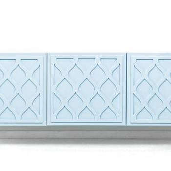 Storage Furniture - Santorini 3 Door Credenza in Ice Blue I Room Service Store - ice blue credenza, blue credenza with carved door fronts, ice blue credenza with lucite legs,