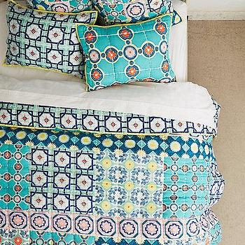 Bedding - Zigon Tilework Quilt I anthropologie.com - blue tiled pattern duvet, blue tilework patterned bedding, patchwork tile print bedding,