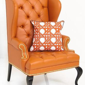 Seating - Brixton Wing Chair in Hermes Orange Faux Leather I Room Service Store - hermes orange faux leather chair, orange faux leather wing chair, orange faux leather tufted wing chair,