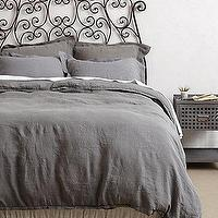 Bedding - Soft-Washed Linen Duvet I anthropologie.com - gray linen duvet, gray washed linen bedding, gray washed linen duvet cover,