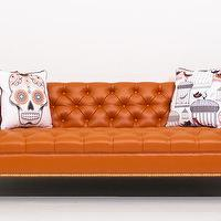 Seating - Sinatra Sofa in Hermes Orange Faux Leather I Room Service Store - hermes orange leather sofa, tufted orange leather sofa, orange sofa with nailhead trim brass legs,