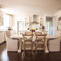 trestle table, white kitchen