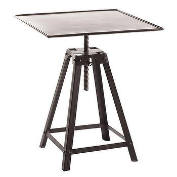 Tables - French Industrial End Table | Wisteria - french industrial accent table, square industrial side table, adjustable iron side table,