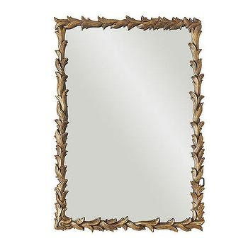 Mirrors - Laurel Leaf Mirror | Wisteria - antiqued gold leaf mirror, gold laurel leaf mirror, antiqued gold laurel leaf mirror,