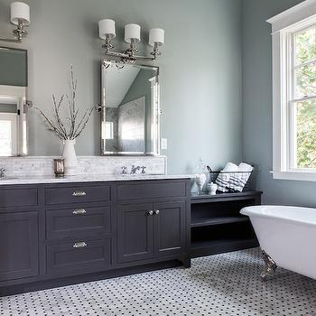 Gray Double Vanity, Transitional, bathroom, George Ramos Woodworking