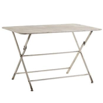 Tables - Antiqued Folding Table | Wisteria - antiqued folding table, antiqued folding patio table, ivory antiqued patio table, vintage style folding patio table,