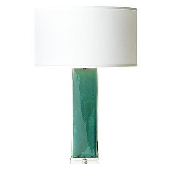 Lighting - Ceramic Tower Lamp | Wisteria - jade green lamp, teal green lamp, jade green column lamp, green lamp with acrylic base,