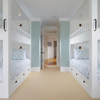 Patterson Custom Homes - boy's rooms - bunk room, built in bunks, double bunk beds, bunk beds either side of room, two bunk beds, white bunk beds, bunk bed with storage drawers, bunk bed with ladder, bunk bed with end ladder, oil rubbed bronze cup pulls, cup pull hardware, blue and white diamond motif bedding, blue diamond patterned bedding, blue diamond lattice bed linens, pale blue and white geometric duvet cover, custom bunk beds, custom bunk room, sleepover rooms, sleepover room ideas, bunk bed ladders,