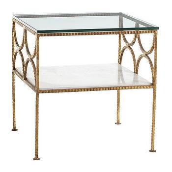 Tables - Gold Fitzgerald Table | Wisteria - gold leafed side table, hammered gold leaf side table, gold side table with marble shelf, gold glass topped side table,