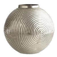 Decor/Accessories - Etched Metal Vessel - Vase | Wisteria - round etched silver vessel, round silver plated brass vase, round silver etched vase,
