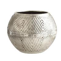 Decor/Accessories - Etched Metal Vessel - Bowl | Wisteria - etched silver bowl shaped vase, silver plated brass vessel, etched silver bowl shaped vessel,