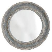 Mirrors - Round Seaside Mirror | Wisteria - round distressed blue mirror, distressed blue wood mirror, beachy round blue mirror, nautical round blue mirror,