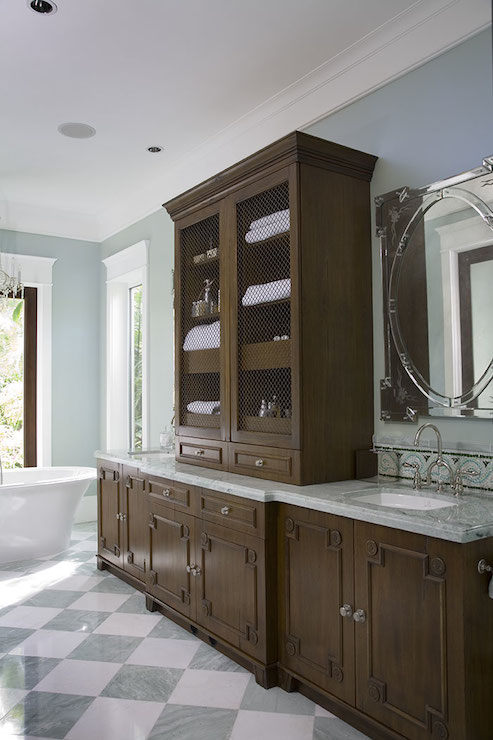 Blue Gray And Chocolate Brown Bathroom: Fretwork Cabinets