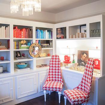 coco & kelly - dens/libraries/offices - home office, office, houndstooth chairs, houndstooth fabric chairs, pink accent chairs, pink houndstooth chairs, built in cabinets, built in bookcases, built in bookshelves, geometric overlays, cabinet overlays, geometric cabinet overlays, red table lamps,