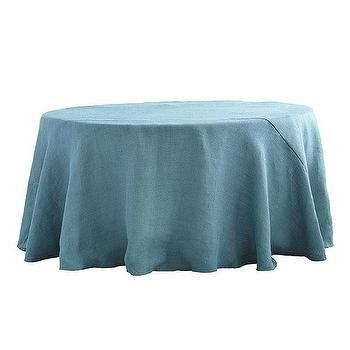 Decor/Accessories - Round Burlap Tablecloth - Dusty Blue | Wisteria - blue burlap tablecloth, round blue burlap tablecloth, burlap tablecloth,