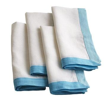 Decor/Accessories - Trimmed Napkins - Blue | Wisteria - blue bordered napkin, blue trimmed napkin, blue trimmed linen napkin, blue bordered linen napkin,