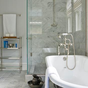 Anne Decker Architects - bathrooms - corner shower, corner shower ideas, rain shower head, marble shower surround, bathroom etagere, nickel and glass etagere, charcoal gray tub, charcoal gray bathtub, clawfoot tub, clawfoot bathtub, charcoal gray clawfoot tub, charcoal gray clawfoot bathtub, floor mount tub filler, floor mounted tub filler, tumbled mirror, tumbled marble floor, tumbled marble tiles,