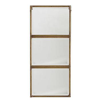 Mirrors - Stacked Panel Mirror | Wisteria - stacked panel gold mirror, gilt stacked panel mirror, triple paneled gilt mirror,