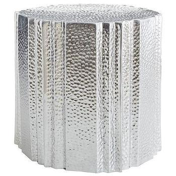 Tables - Bindu Accent Table I Pier 1 - hammered aluminium accent table, hammered silver side table, hammered aluminium side table,