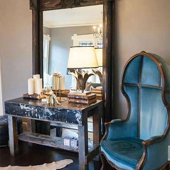 coco & kelley - living rooms - french floor mirror, floor mirror, distressed floor mirror, french distressed floor mirror, distressed french floor mirror, distressed table, dome chair, velvet dome chair, blue dome chair, blue velvet dome chair, white cowhide rug, distressed console, distressed console table, distressed table,