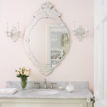 Amy Studebaker Design - bathrooms - powder room, pink walls powder room, powder room pink walls, powder room ideas, pretty powder rooms, powder room mirrors, mirrors for powder rooms, venetian mirror, vanity mirror, venetian vanity mirror, french sconces, cream vanity, cream washstand, pink knobs, rose knobs, pink rose knobs, pink glass knobs, glass rose knobs, carrara marble, carrara marble countertop,