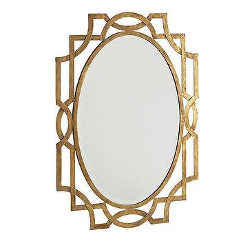 Mirrors - Mirror, Mirror on the Wall | Wisteria - oval antiqued gold mirror, oval art deco style mirror, antiqued gold art deco mirror,