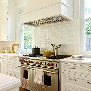 Anne Decker Architects - kitchens - white marble countertop, white linear tiles, white range hood, white kitchen hood, shaker cabinets, shaker kitchen cabinets, stacked cabinets, stacked kitchen cabinets, white kitchens, white kitchen ideas, ,